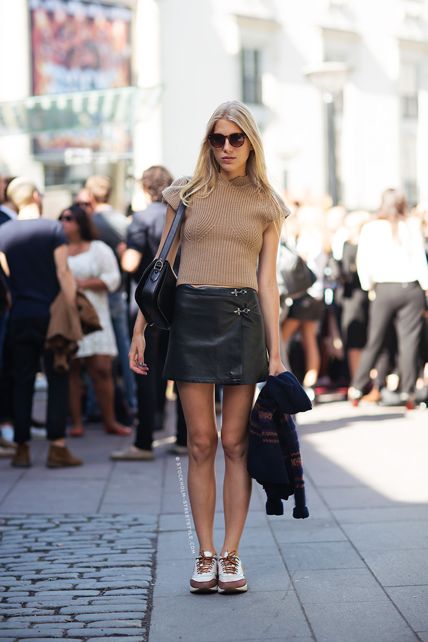brown top leather skirt white tan trainers photography by eddie