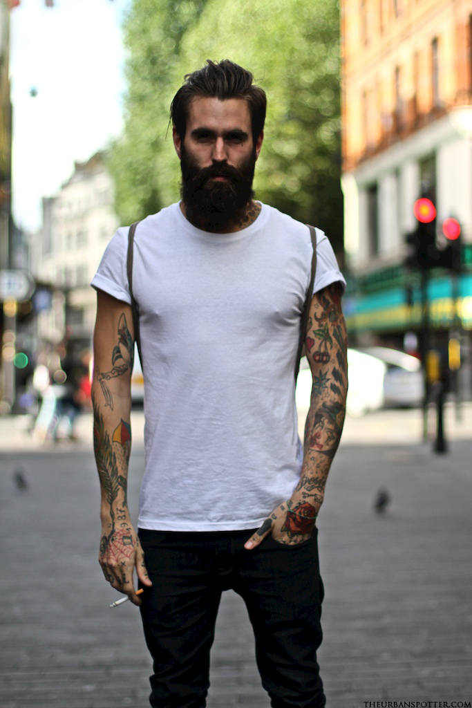 Ricki hall just the design for Bearded tattooed man