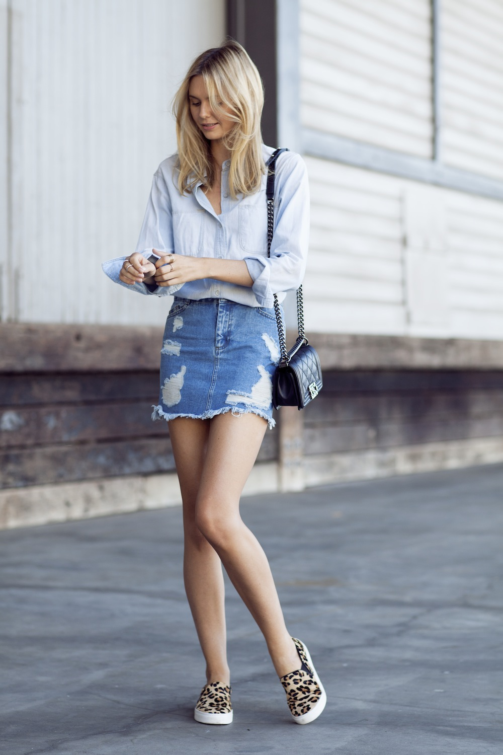Jessica Wearing Asos denim skirt, Madewell Denim Shirt, Windsor Smith Slides, Chanel Bag