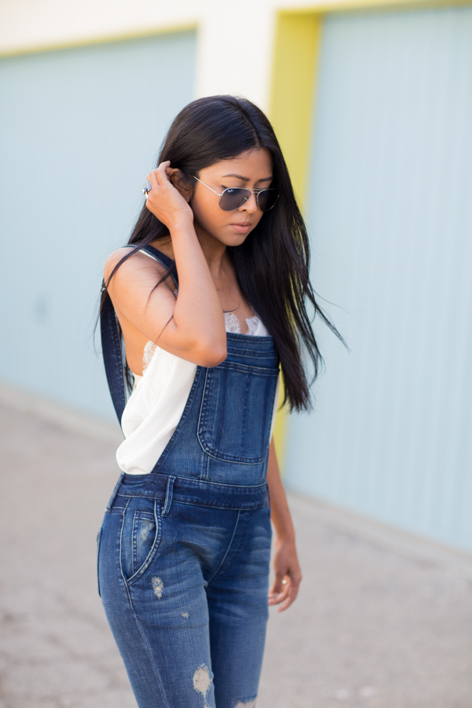 Walk In Wonderland In Top From Cami NYC And Distressed Denim Overalls From Black Orchid Denim