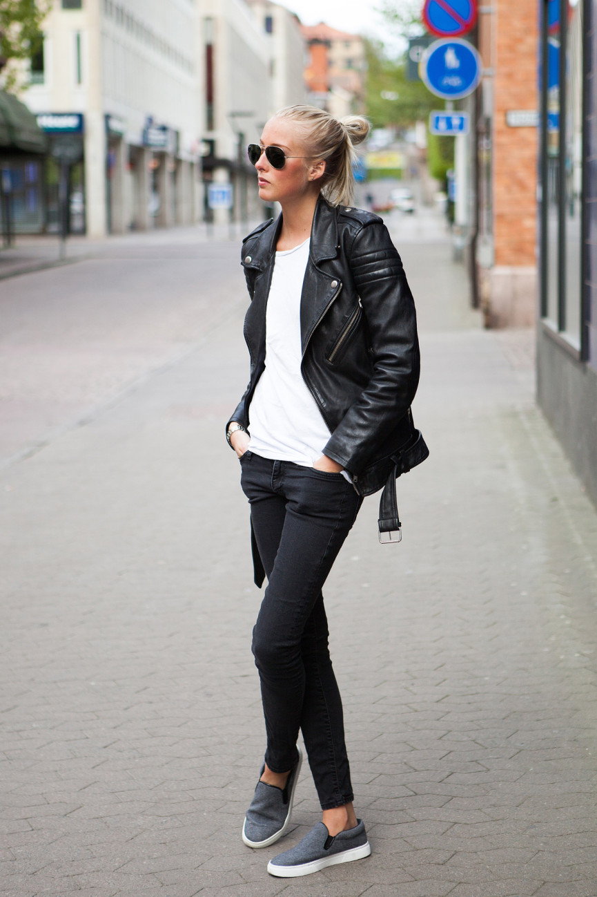 Leather jacket jeans