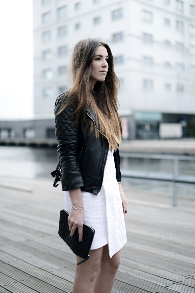 White dress and leather jacket – Modern fashion jacket photo blog