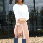 Camila Coelho Wearing Jimmy Choo Shoes, Pleated Skirt By Zara, Top By BCBG, Bag By Le Postiche And Carera Sunglasses