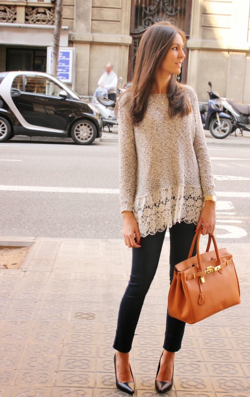 BCN Fashionista In A Sweater From Barcelona Low Chic