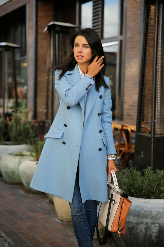 Fashion Blogger Viva Luxury In A Blue Paul & Joe Coat