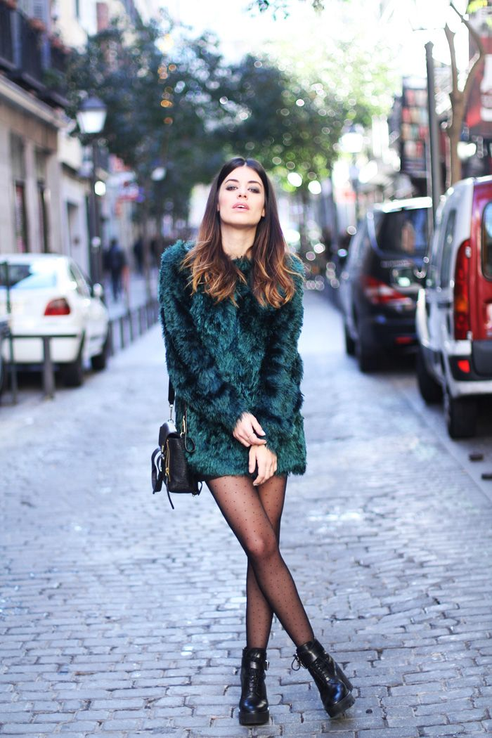 Aida Domenech Wearing Sweater From & Other Stories Leather Mini Skirt From Mango And Zara Boots
