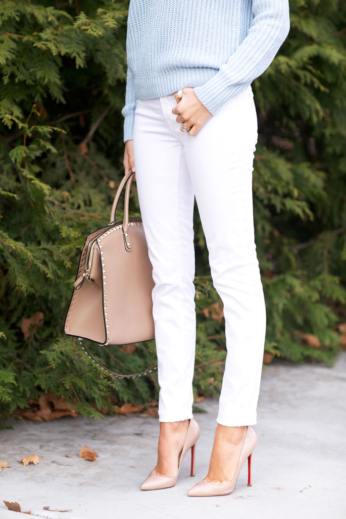 Fashion Blogger Rachel Wearing Sweater From Theory, Denim Jeans From J.Brand, Shoes Loboutin and A Valentino Bag