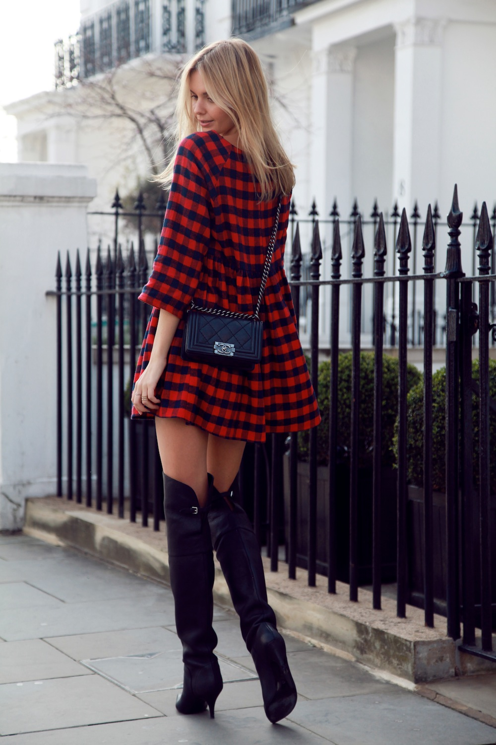 Tuula Is Wearing Check Dress From Asos, 3.1 Phillip Lim boots, A Chanel bag