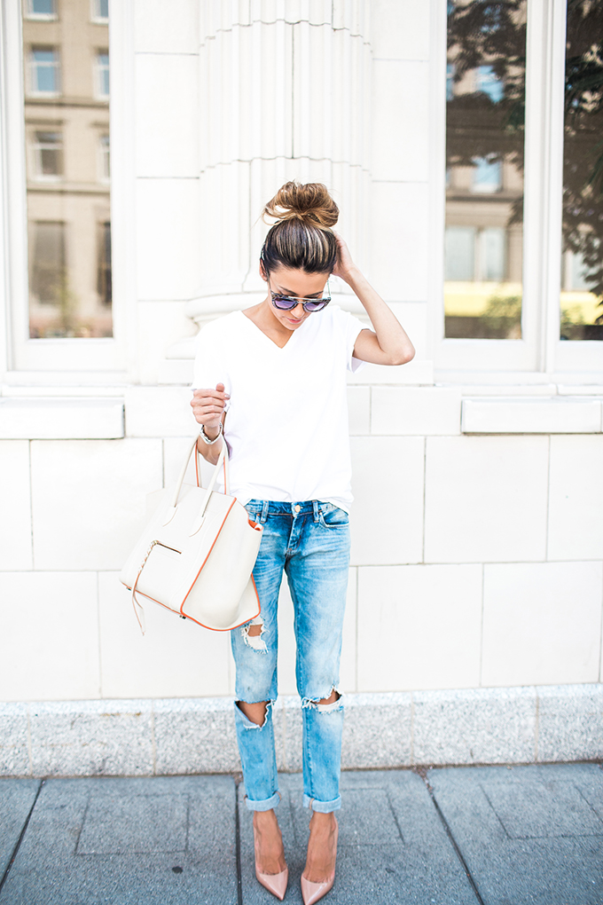 6f59430ddd0 Go for a cute yet simple outfit in these ripped jeans and white tee paired  with your favourite heels. Via Christine Andrew