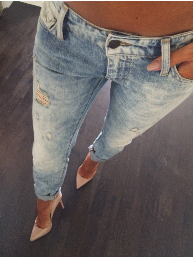 Johanna Olsson Is Wearing Distressed Jeans From Denim and Supply, And Nude Shoes From Christian Loboutin