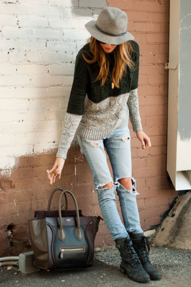 Katie Cassidy In Distressed Jeans From Rag & Bone, and Jumper From Scoop
