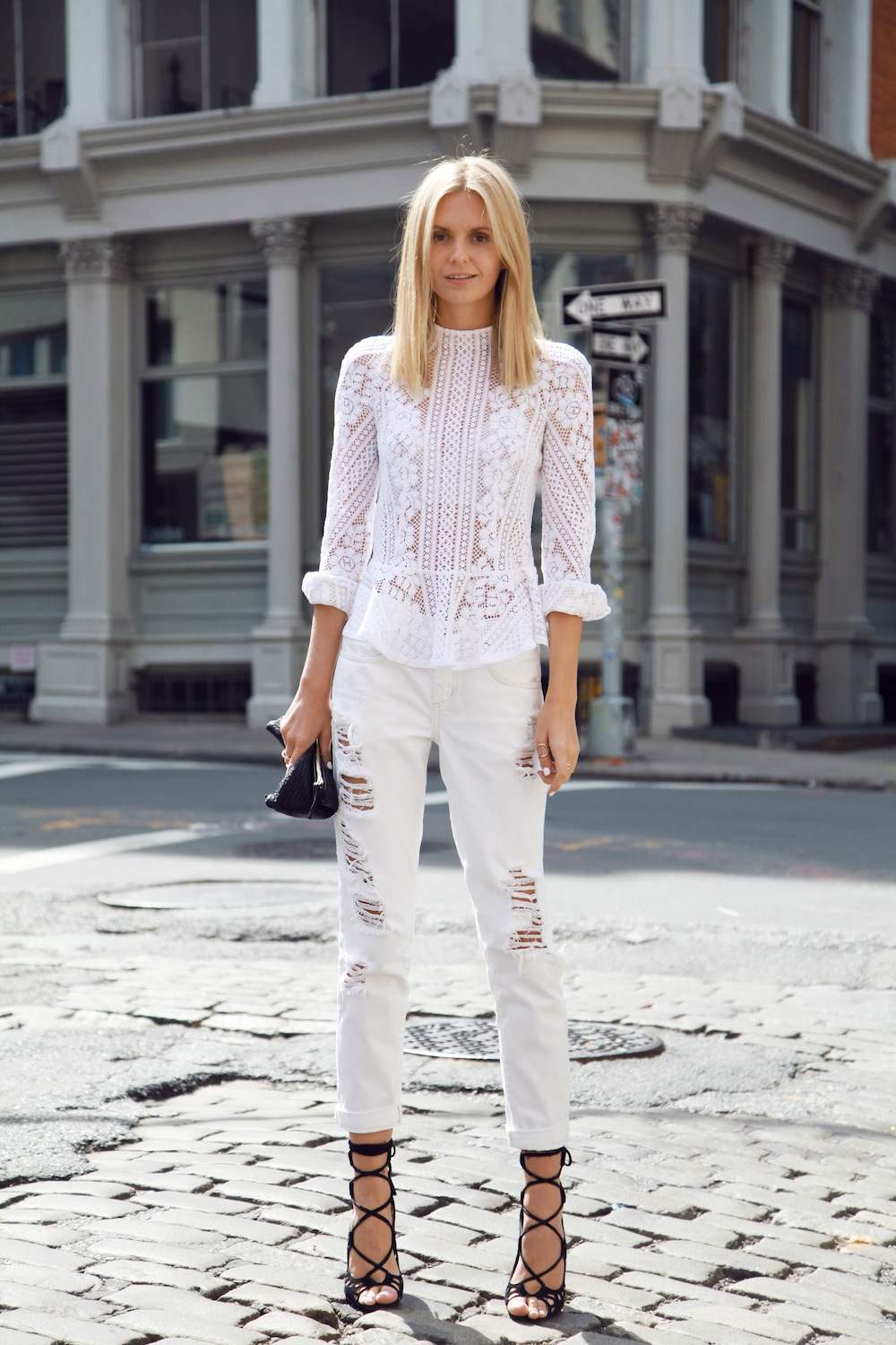 We love everything lace just the design for White pants denim shirt