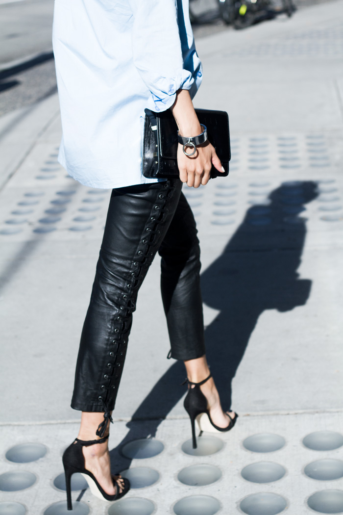 I have more outfit options styling leather trousers than tight leggings.