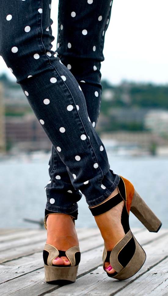 My Style Pill Wearing Jeans From Paige Polka Dot Jeans And Dolce Vita Shoes