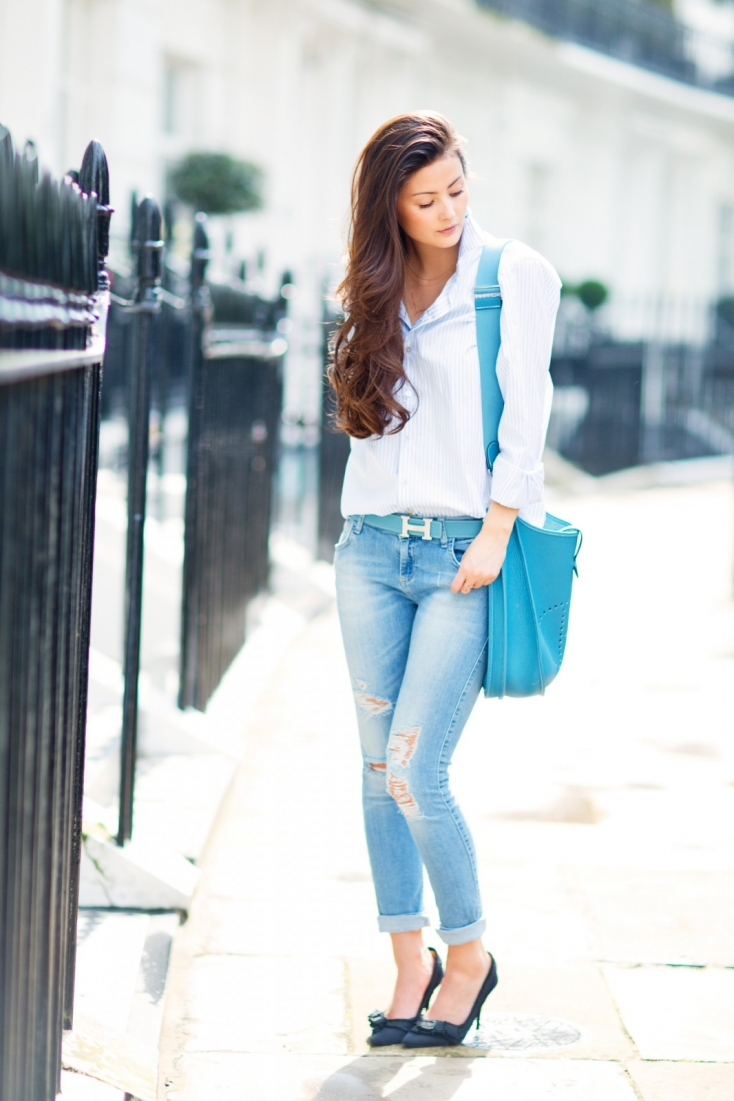 Peony Is Wearing Shoes From Pura Lopez, Ripped Jeans From Zara, Shirt From Thomas Pink And Bag And Belt From Hermes