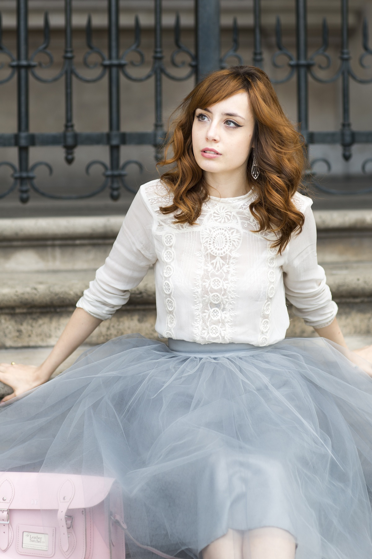8bf0c2eb4 Louise Ebel is wearing a white lace crochet shirt from Zara, pale blue tulle  skirt