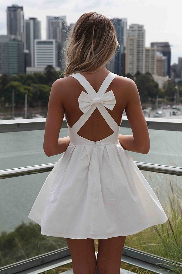 White Mini Dress with Cross Bow From US Trendy