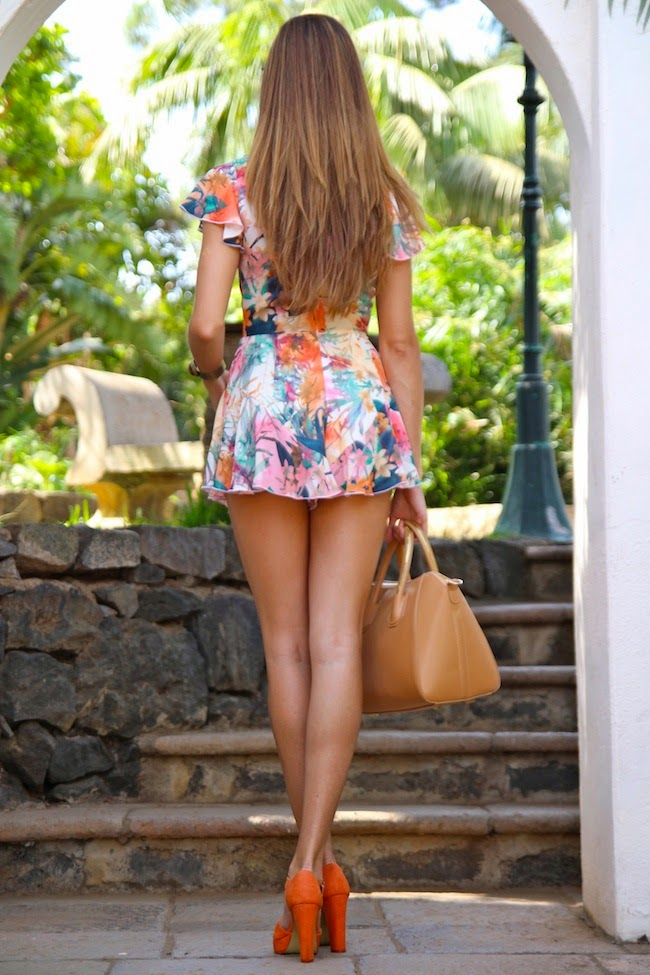 Marienela Is Wearing Multi Patterned Playsuit From Inlovewithfashion, Bag From Teria Yabar And Shoes From Lefties