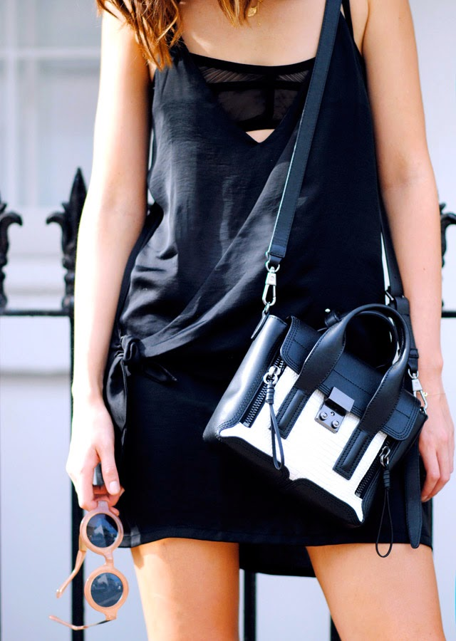 The Chronicles Of Her Is Wearing A Black Dress And Bra From Nasty Gal And The Bag Is 3.1 Philip Lim Bag