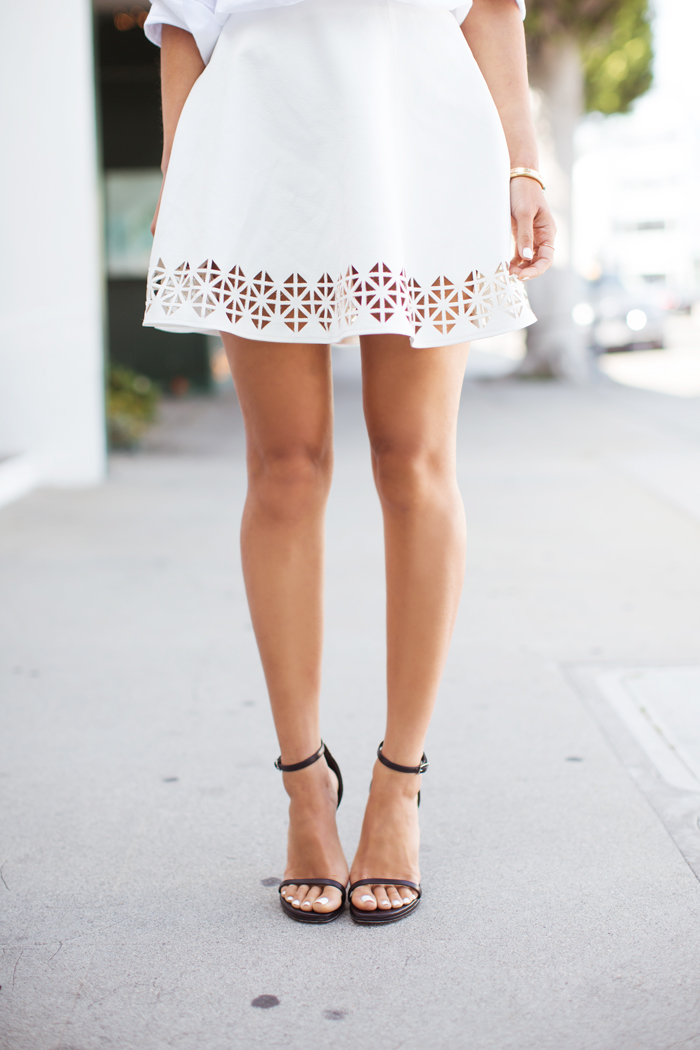 Song Of Style Is Wearing Laser Cut Vegan Leather Skirt From Lovers + Friends And The Shoes Are Jane High Heel Sandals From Saint Laurent