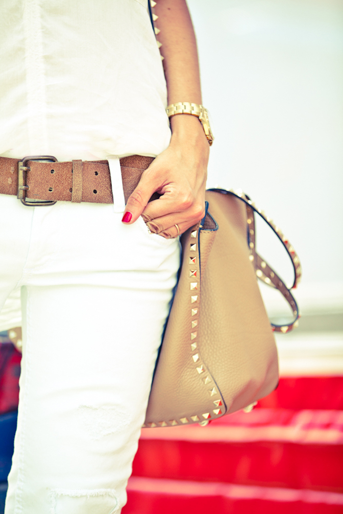Lovely Pepa Is Wearing White Jeans And Shirt By GAS, Studded Bag From Valentino And Vintage Belt