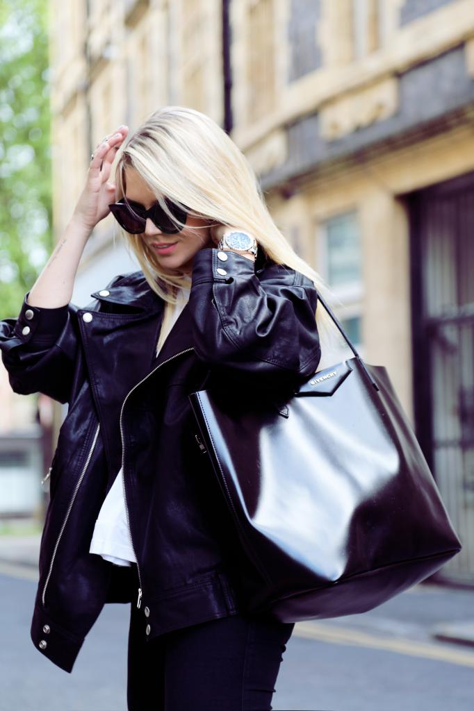 Isabella Thordsen Is Wearing Leather Jacket From Modekungen, Sunnies From ASOS And Bag From Givenchy