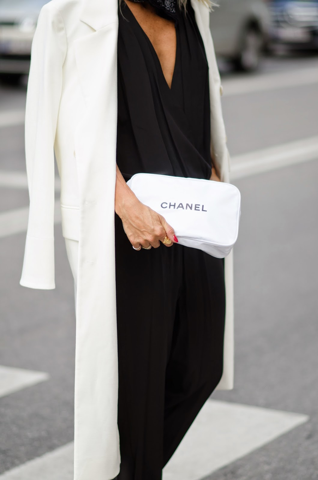 Celine Aagaard is wearing black and white at Copenhagen Fashion Week