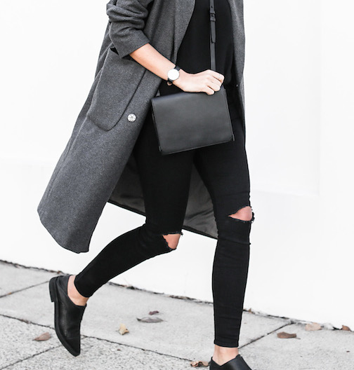 Kaitlyn Ham is wearing an oversized grey coat from Asos, jeans from Lee, top from Camilla And Marc, shoes from Helmut Lang and the bag is from Alexander Wang