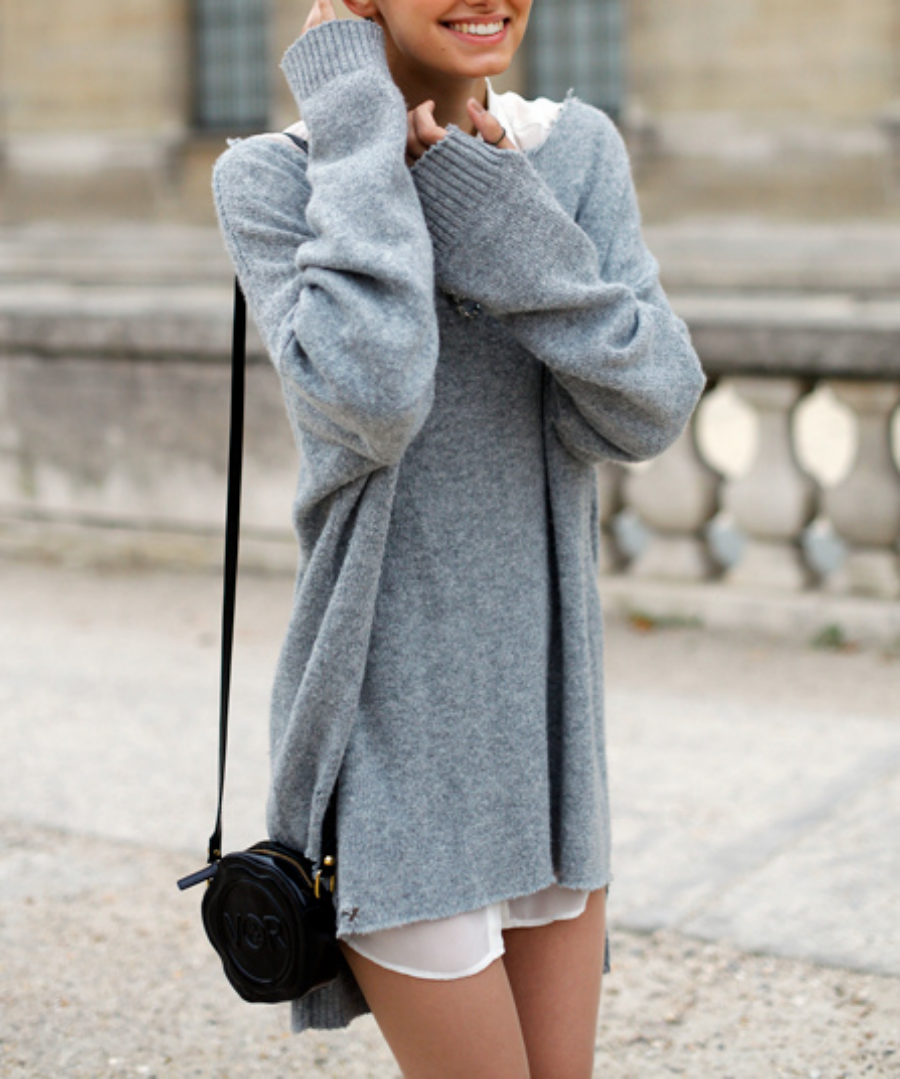 Baggy Jumpers Tumblr - Gray Cardigan Sweater