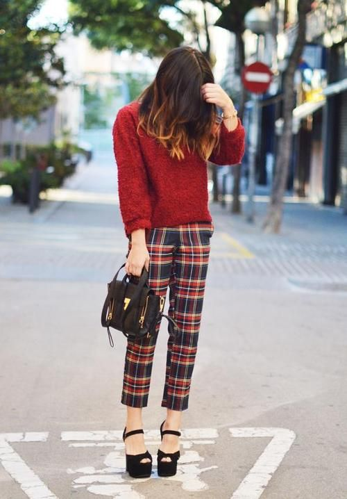 Plaid Trousers and fuzzy top by unknown fashion blogger