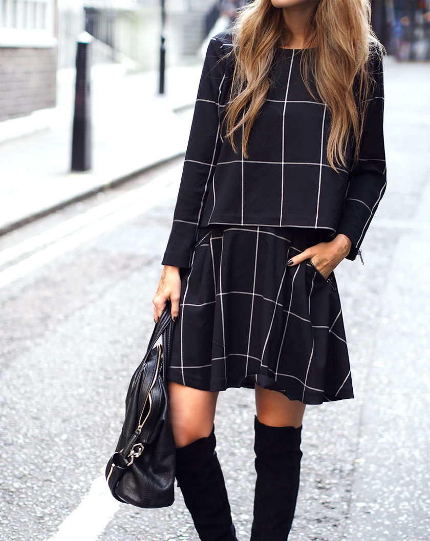 Annette Haga is wearing a check top and skirt from Weekday, shoes from Bianco and a bag from Givenchy