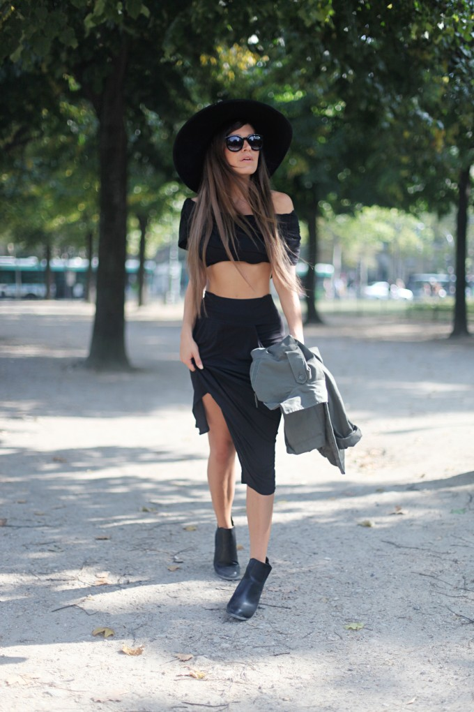 Audrey Leighton Rogers is wearing all black, top and skirt from FD Avenue, fedora from Zara, sunglasses from Zero UV and Chelsea boots from Boohoo