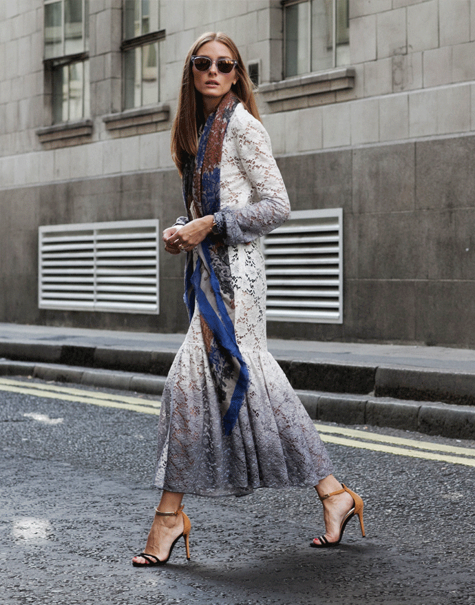 Olivia Palermo is wearing a long-sleeve ombre lace dress from Burberry, scarf from Carolina Herrera and the shoes from Schutz