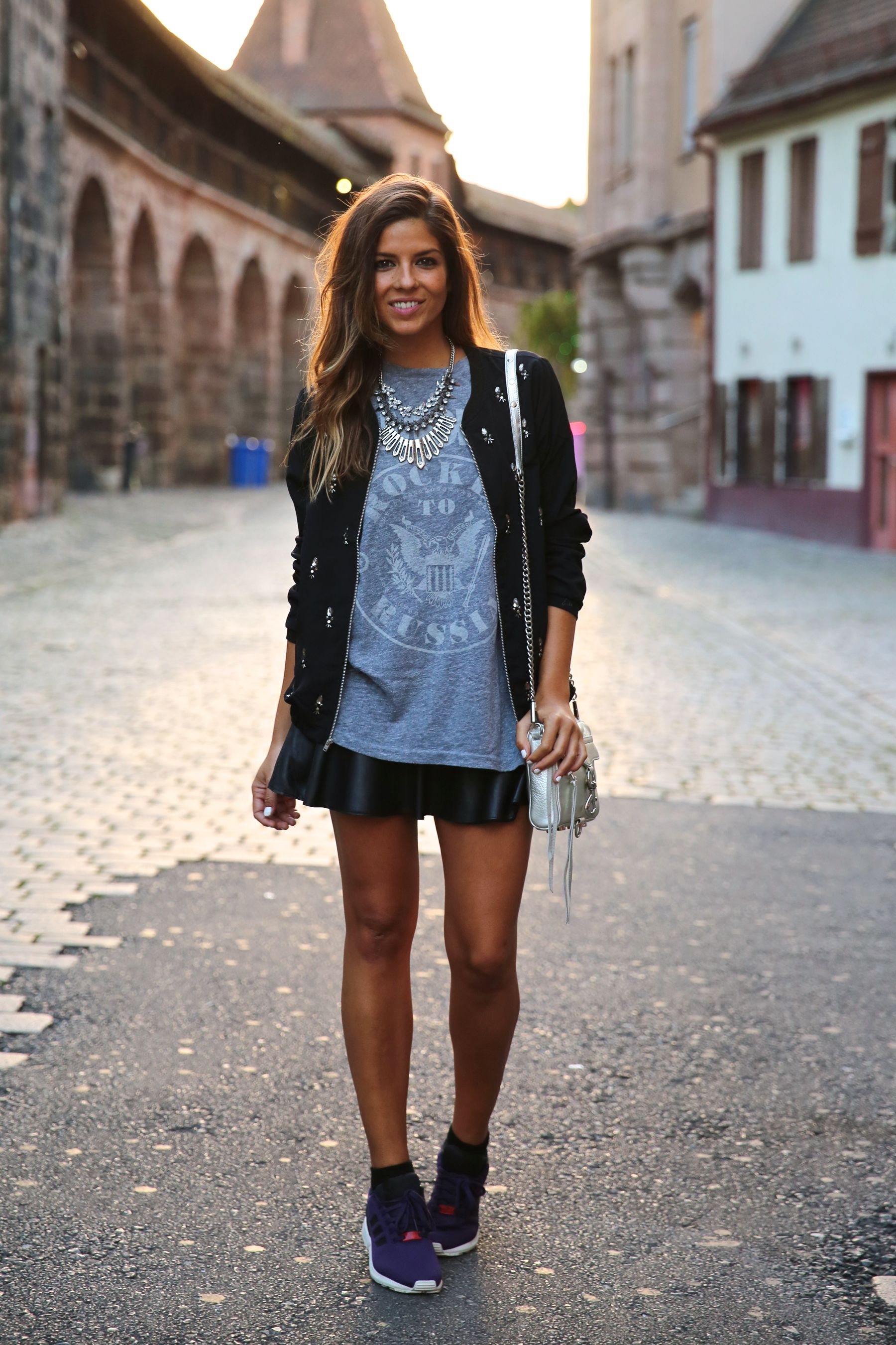 Natalia Cabezas is wearing a jacket from Vila, T-shirt from Gap, trainers from Adidas, (ZX Flux) and a bag from Rebecca Minkoff