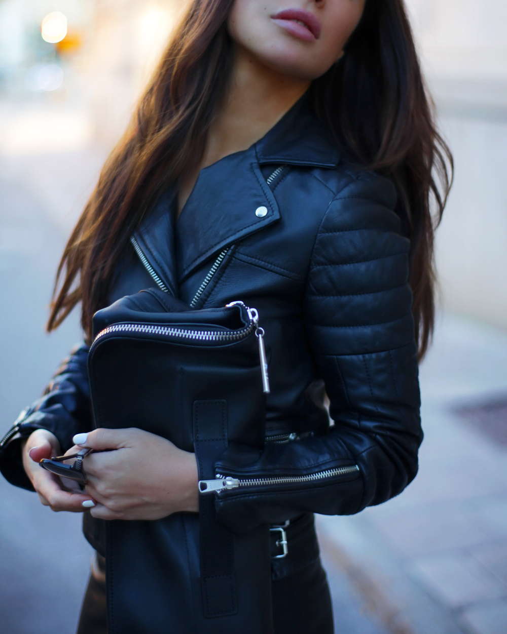 Johanna Olsson is wearing a bag from 3.1 Philip Lim and a leather jacket from Whistles