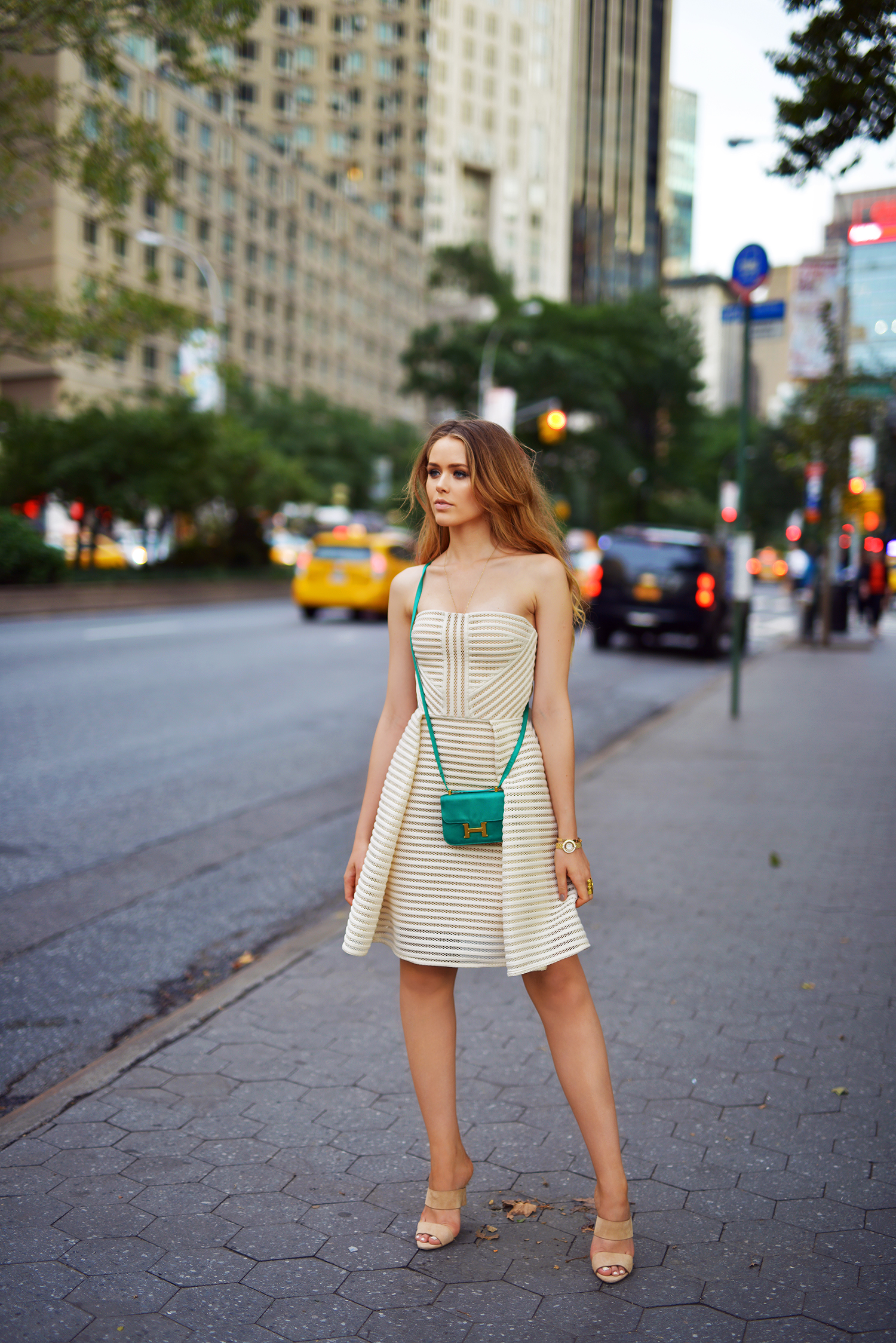 Kristina Bazan is wearing a dress from Elie Saab, shoes from Alexander Wang and the bag is from Hermès