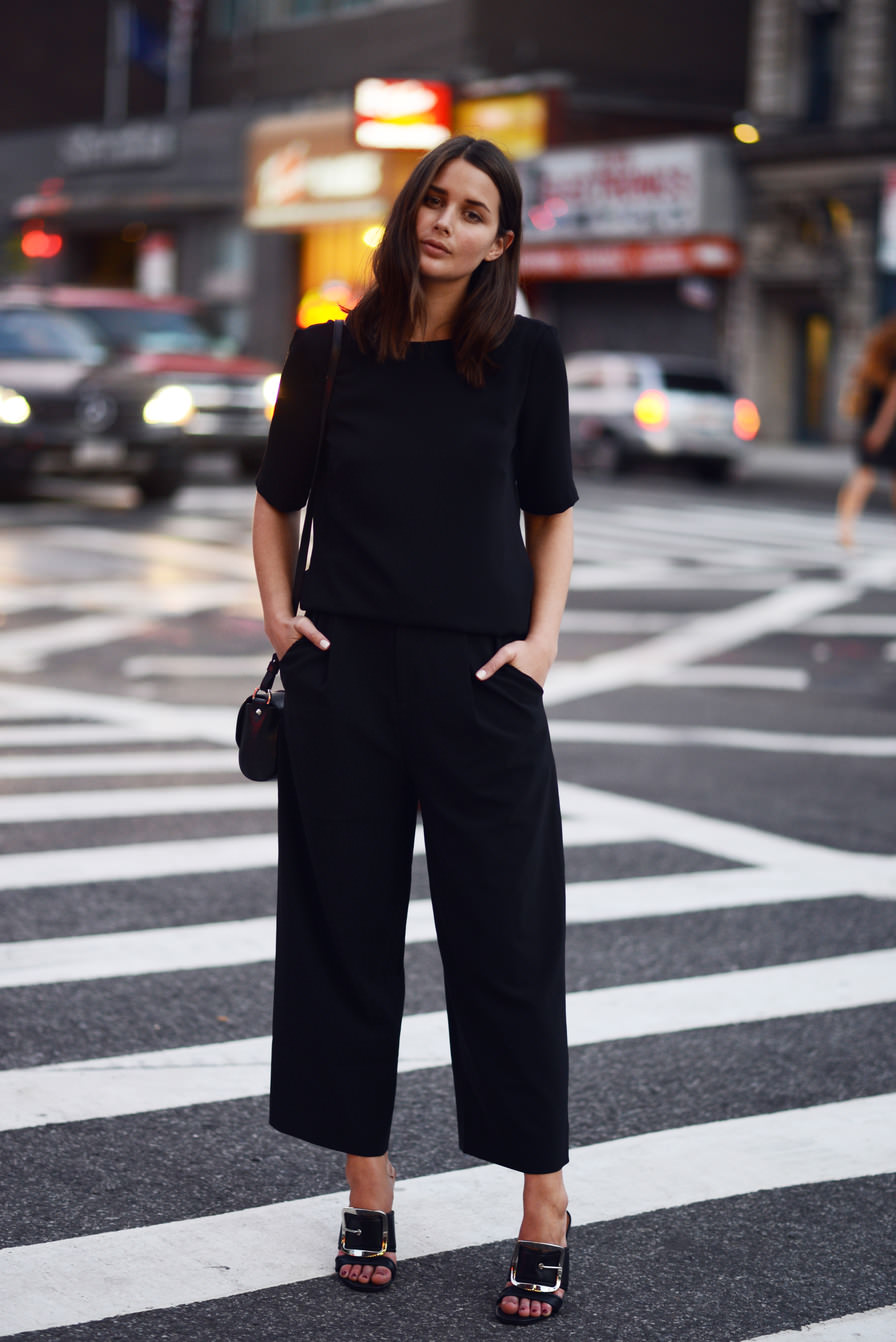 Sara Donaldson is wearing a top from Camilla and Marc, cropped trousers from Elizabeth and James and the mules and bag is form Givench