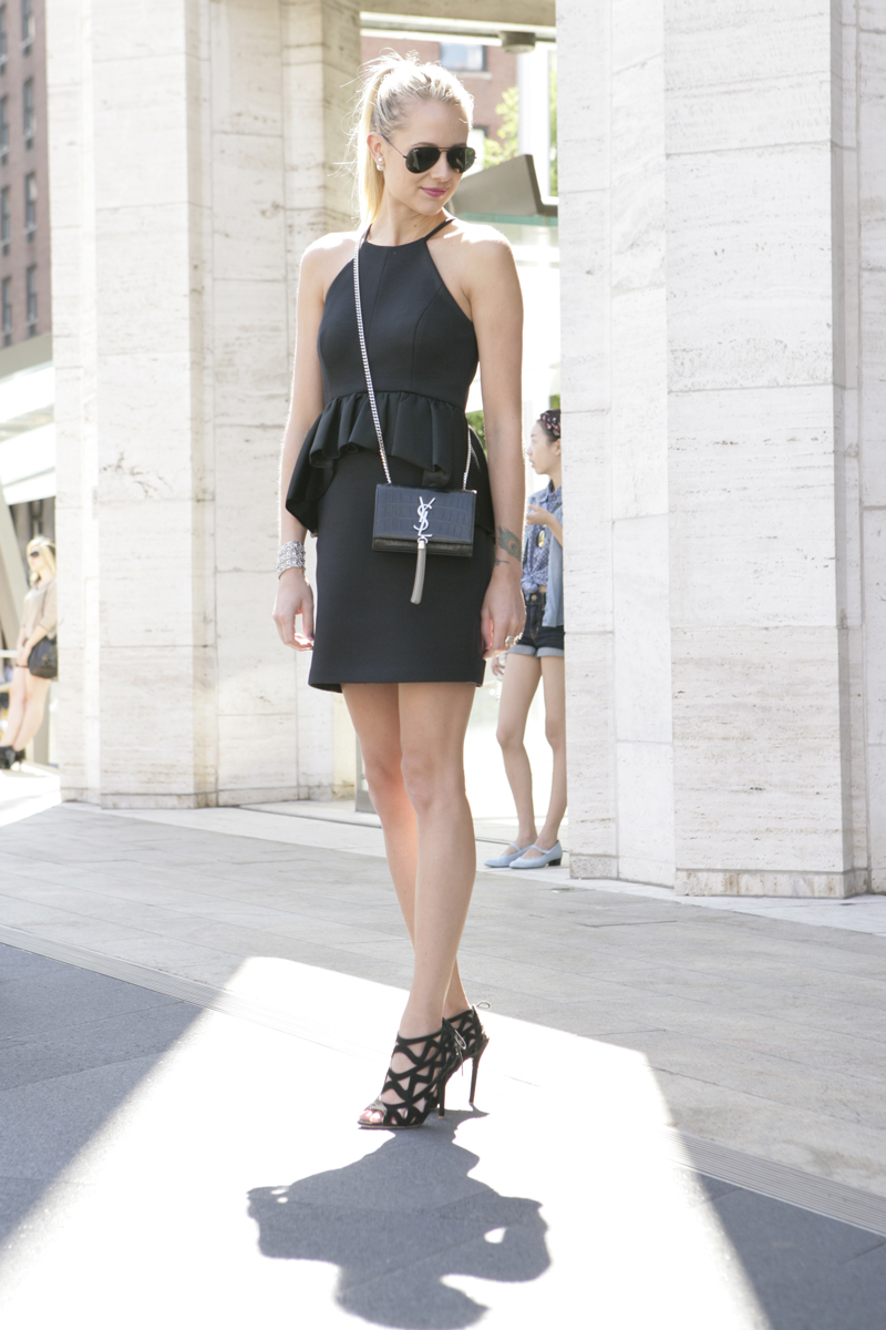 Amy Jackson is wearing all black, dress from Neiman Marcus, shoes from JustFab, handbag from YSL and sunglasses from Ray-Ban