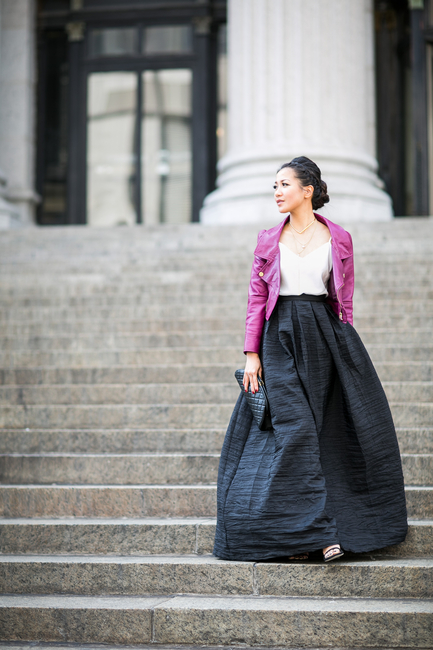 Wendy Nguyen is wearing a leather jacket from Red Valentino, top from Ann Taylor, black skirt from Vivian Chan and a bag from Chanel