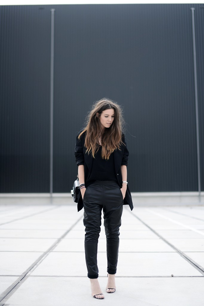 Cindy Van Der Heyden is wearing a leather track trousers from Gestuz, cami top from Zara, oversized blazer from H&M, shoes from Alexander Wang and the bag is from Proenza Schouler