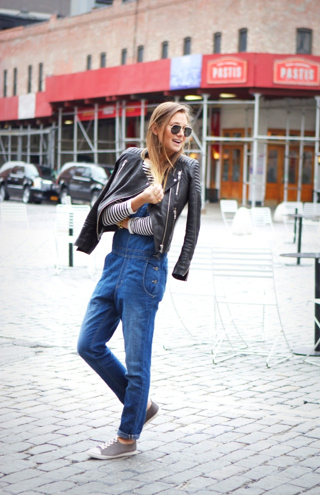 Danielle Bernstein in her denim overalls from Big Star and the leather jacket and sneakers are both from H&M