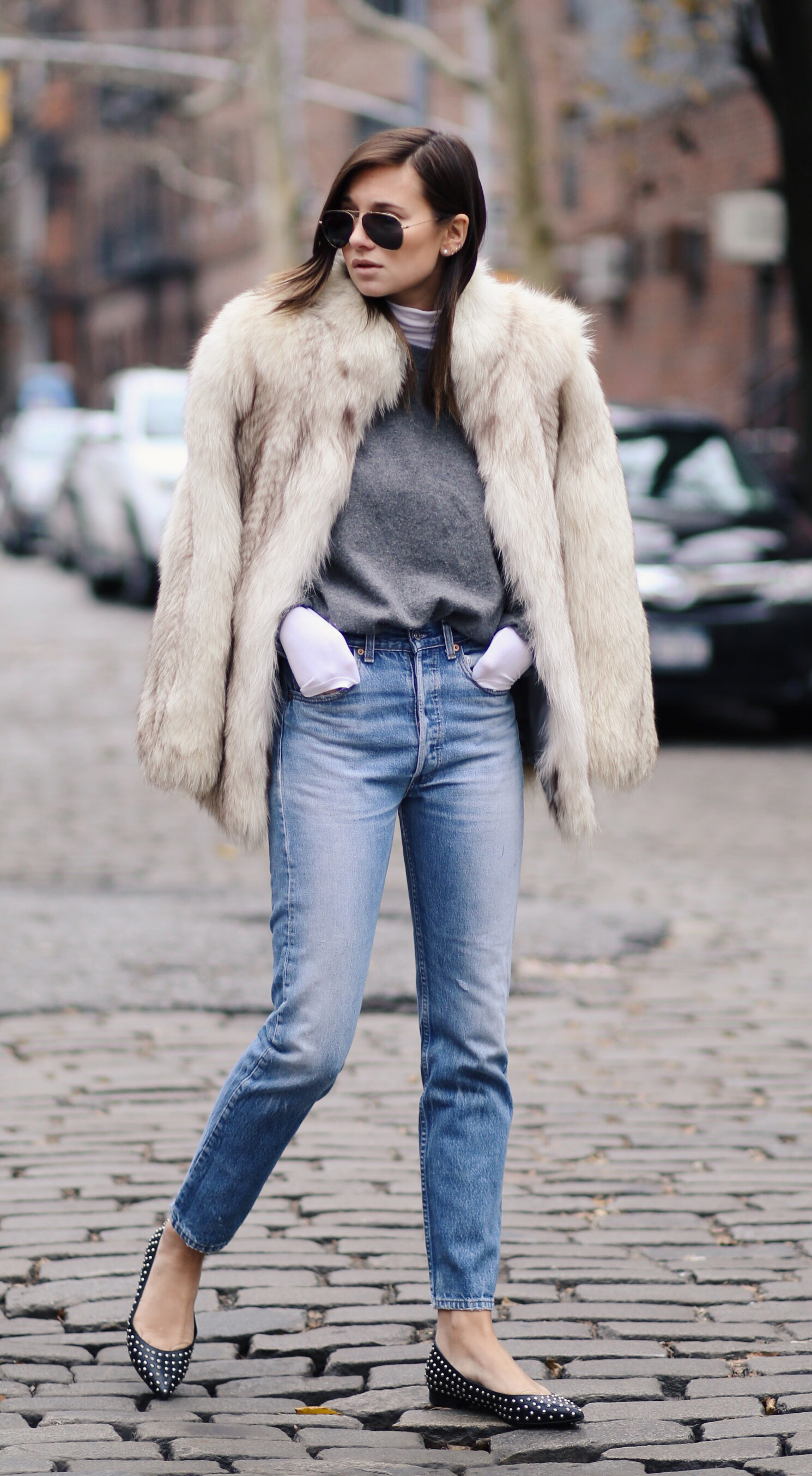 588787cf5d49 Danielle Bernstein is wearing a vintage fuzzy faux fur coat