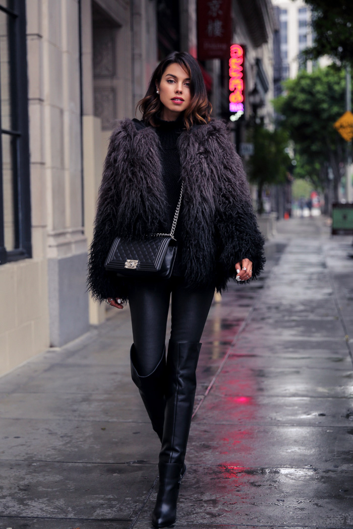 6a6b6ca249f7 Fuzzy Trend: Annabelle Fleur is wearing a fuzzy faux fur jacket from Zadig  et Voltaire