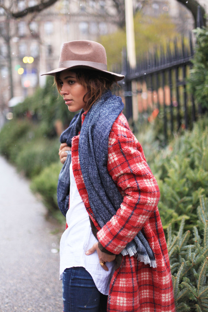 Plaid Fashion Trend: Christina Caradona is wearing a red plaid coat from Gat Rimon