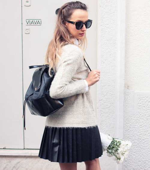 cef579ac4dd2 Preppy Fashion Trend: Ivana Julián is wearing a beige fluffy sweater from  Q2, white