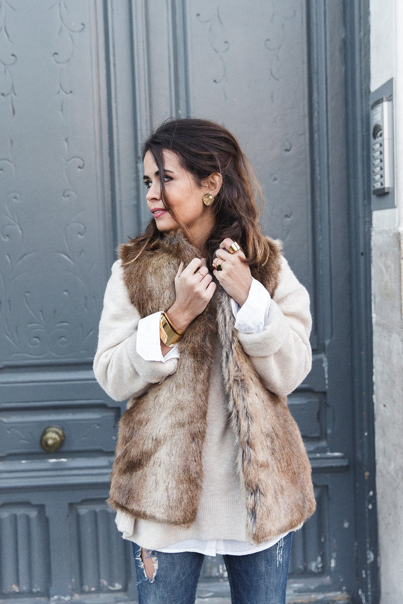 Faux Fur Vest: Sara Escudero is wearing a furry vest from Zara