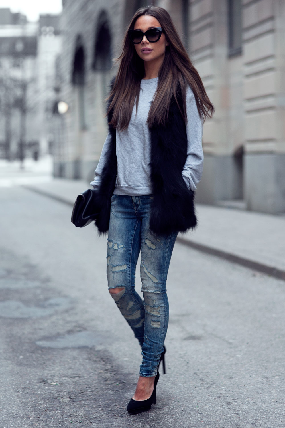 Johanna Olsson is wearing the faux fur vest trend