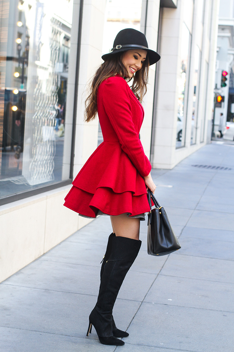 fabulous outfits with black knee boots women