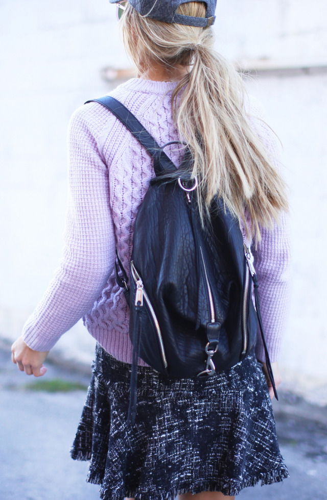 Backpack Trend 2014: Mary Seng is wearing a leather backpack from Rebecca Minkoff