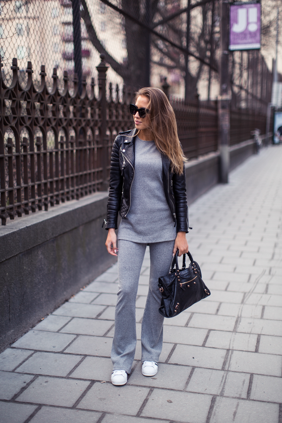 Grey Outfit Ideas: Kenza Zouiten is wearing a Ginatricot pale grey tracksuit set